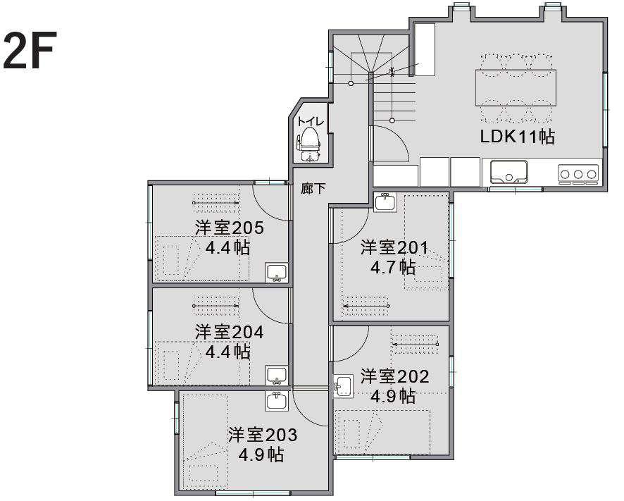 シェアハウス2階間取り図