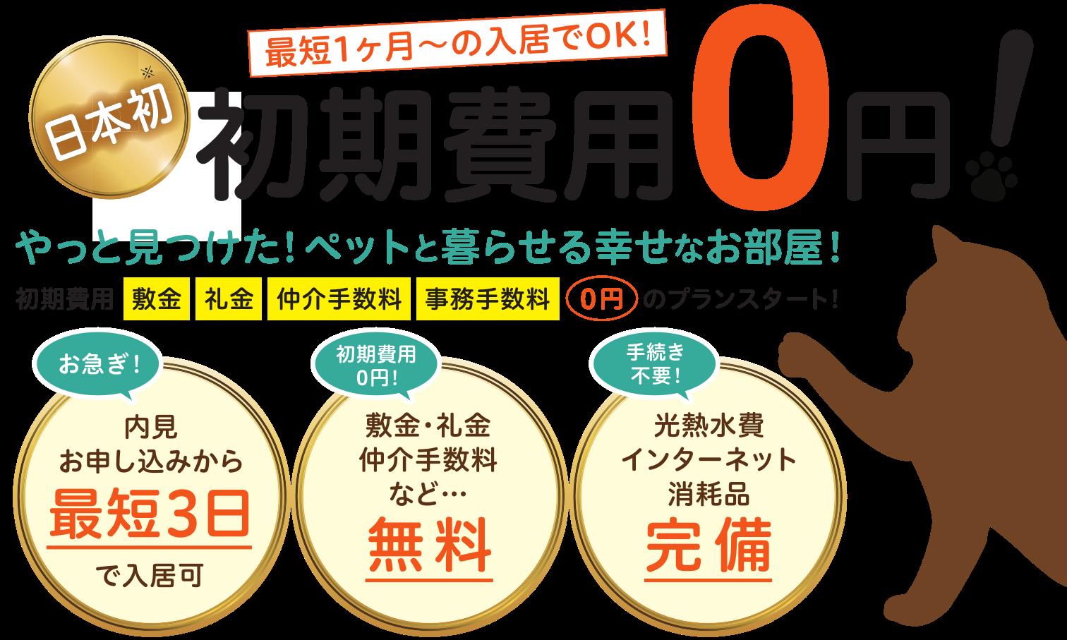 初期費用0円キャンペーン!